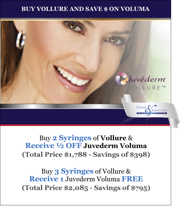 Finger and Associates Special Save on Vollure and Juvederm Voluma